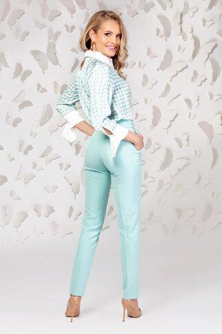 Bluza Pretty dama verde mint cu guler și manșete oversize