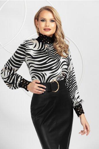 Bluza Pretty Girl alb-negru cu imprimeu zebra