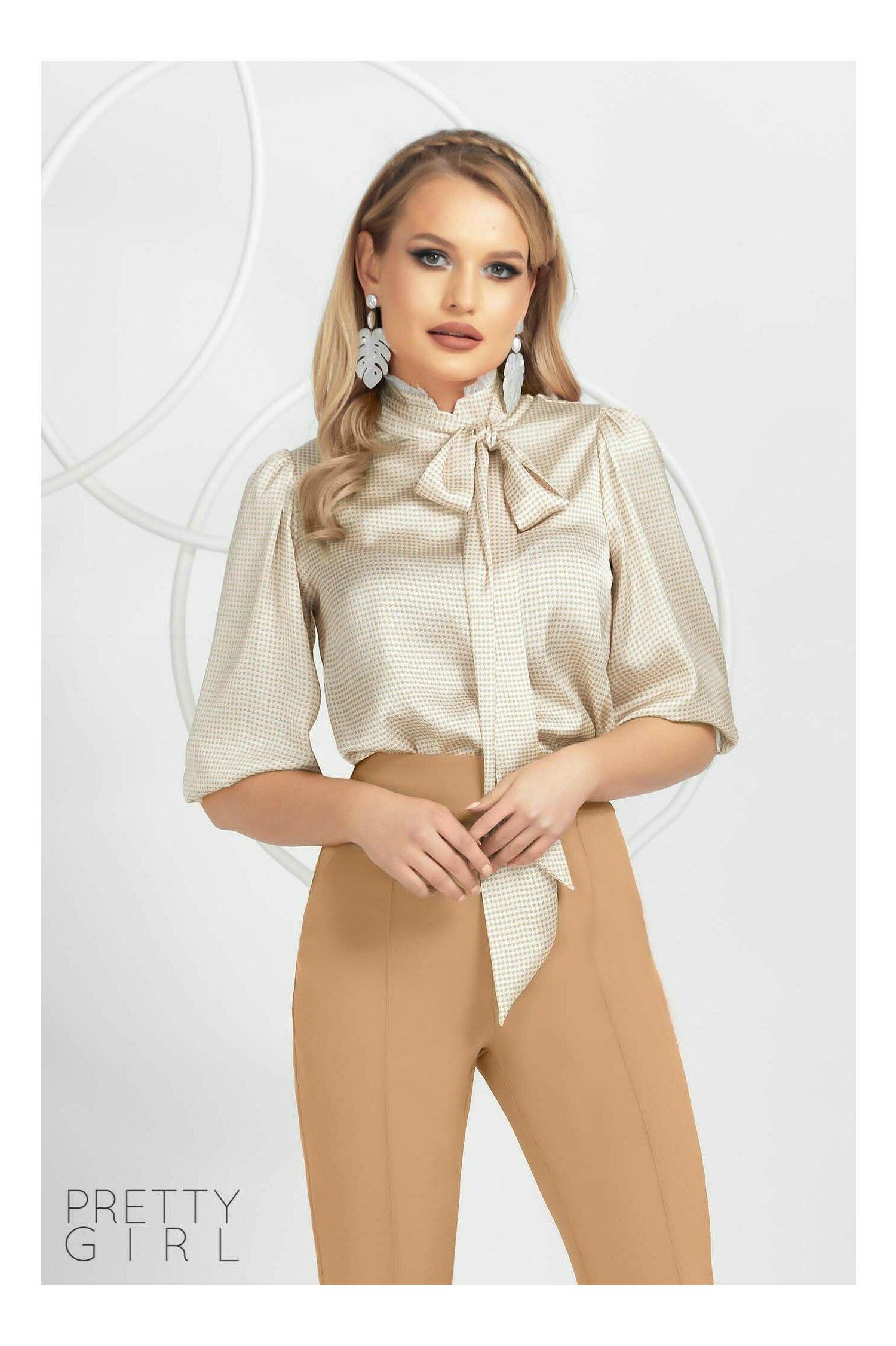 Bluză Pretty Girl bej cu imprimeu picior de cocos cu eșarfa detasabila