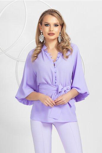 Bluza Pretty Girl lila cu nasturei si cordon detasabil