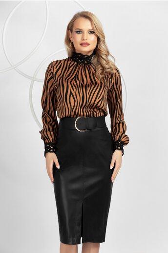 Bluza Pretty Girl maro-negru cu imprimeu zebra