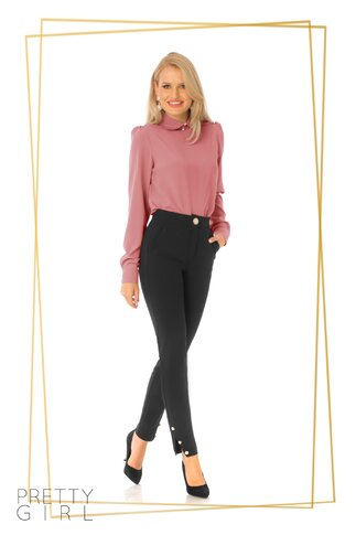 Bluza Pretty Girl rose cu guler tip Peter Pan