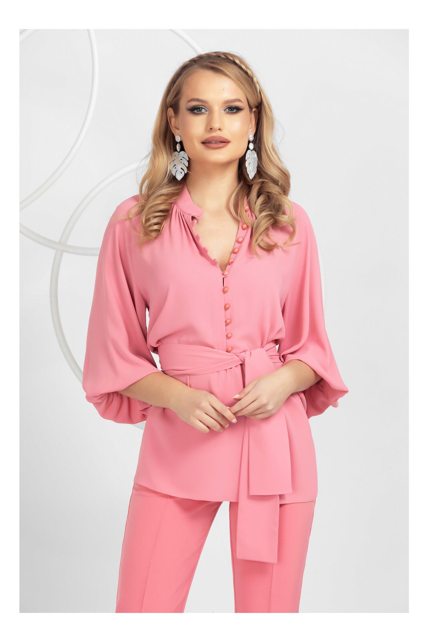 Bluza Pretty Girl roz cu nasturei si cordon detasabil