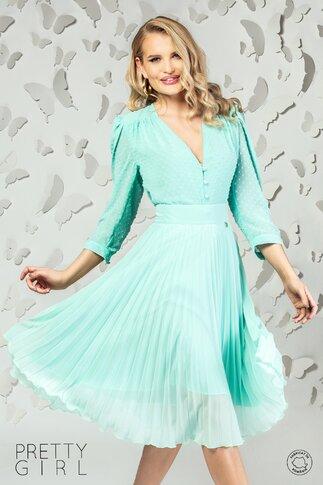 Bluza Pretty Girl verde din voal cu aplicatii tip plumeti