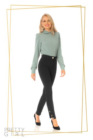 Bluza Pretty Girl verde mint cu guler tip Peter Pan