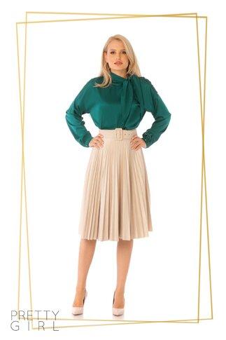 Bluza Pretty Girl verde satinata cu guler tip esarfa