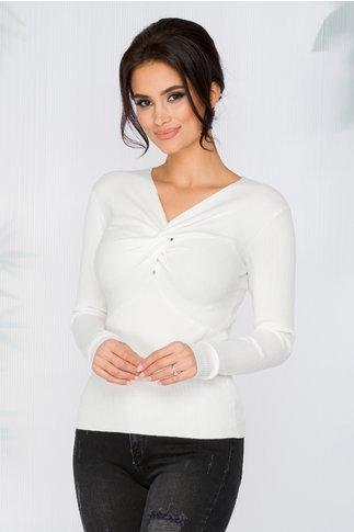 Bluza Rachel alba tip tricot cu impletitura