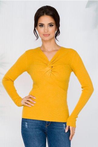 Bluza Rachel galbena tip tricot cu impletitura