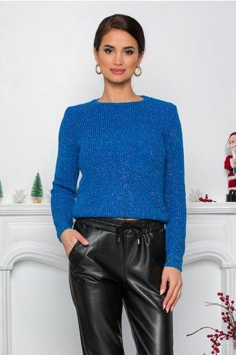 Bluza Ramona albastra cu insertii din fir lurex