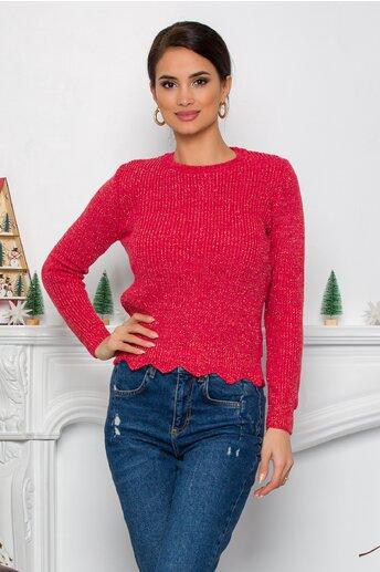 Bluza Ramona corai cu insertii din fir lurex