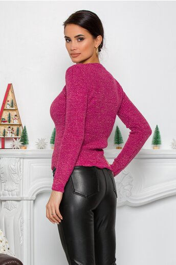 Bluza Ramona roz cu insertii din fir lurex