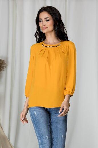 Bluza Ranya galben mustar cu aplicatii la baza gatului