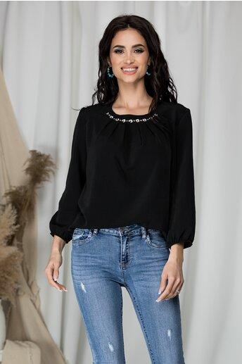 Bluza Ranya neagra cu aplicatii la baza gatului