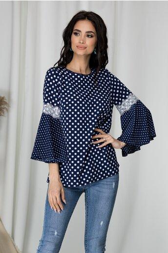 Bluza Renata din voal bleumarin cu buline albe