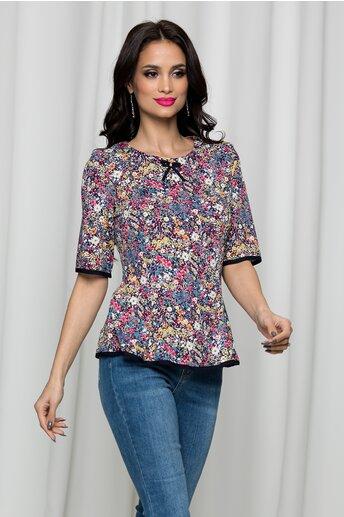 Bluza Rona bleumarin cu floricele multicolore