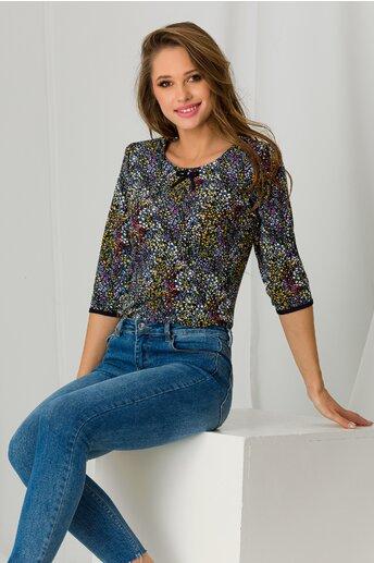 Bluza Rona bleumarin cu picatele colorate