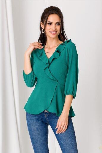Bluza Rona verde cu volanase la decolteu si peplum in talie