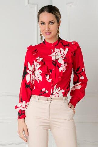 Bluza rosie cu imprimeuri florale si volanase la bust