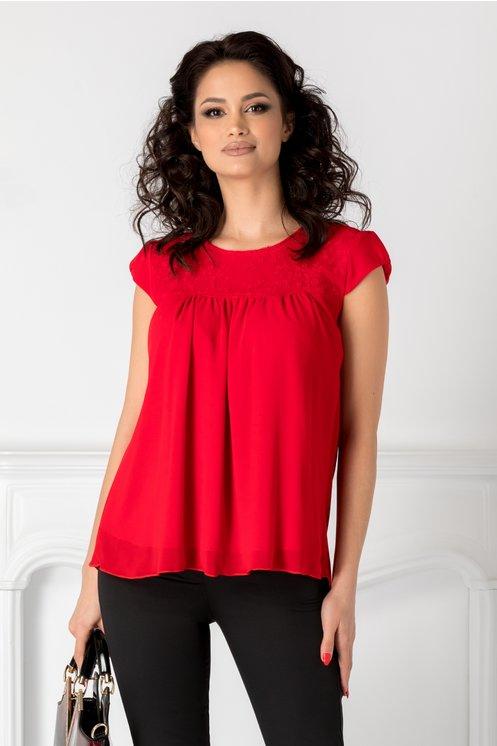 Bluza rosie din voal cu dantela