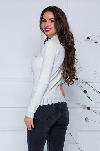 Bluza Roxi alba cu design stilysh la guler si baza