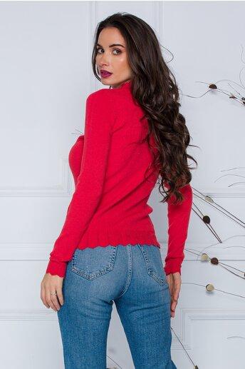 Bluza Roxi caramizie cu design stilysh la guler si baza