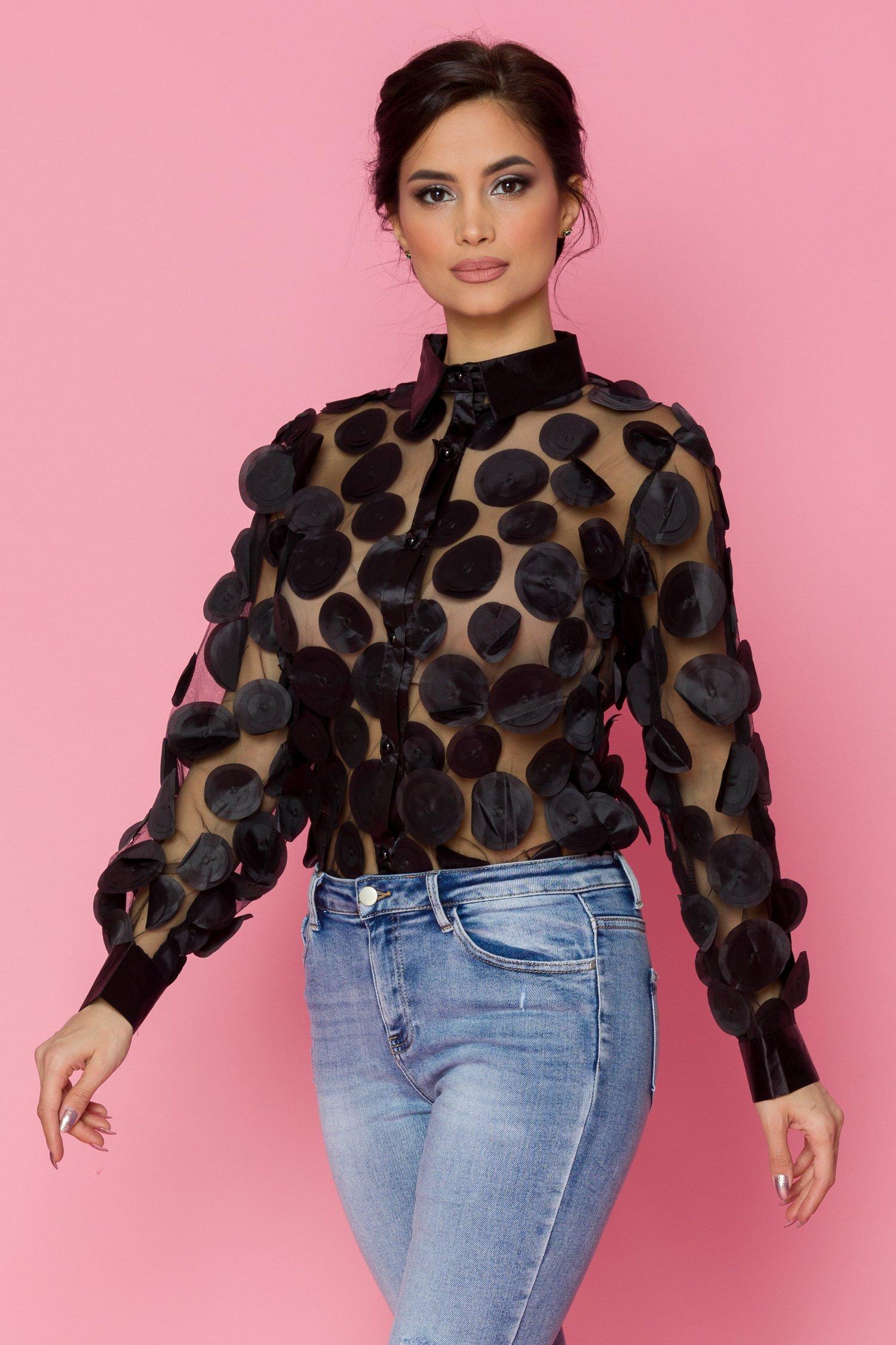 Bluza Roxxane neagra cu maneci lungi si aplicatii 3D
