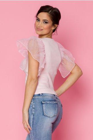 Bluza roz cu volane maxi pe umeri