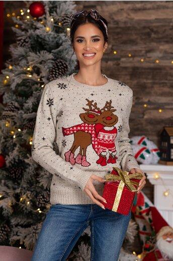 Bluza Rudolf bej cu imprimeu de iarna