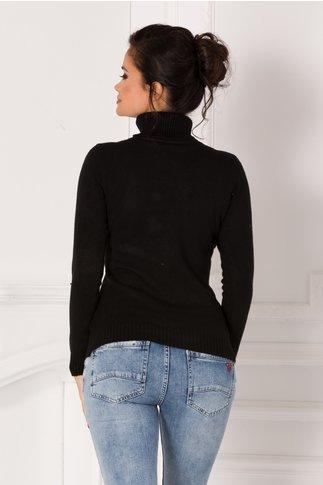 Bluza Sabrina neagra cu guler si broderie 3D la bust