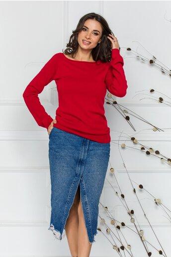 Bluza Sabrina rosie cu decolteu oval