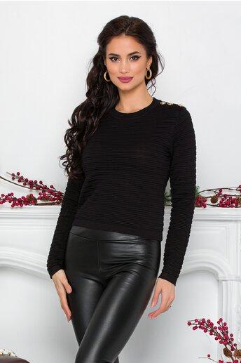 Bluza Sami neagra cu textura striata si nasturi decorativi la umar