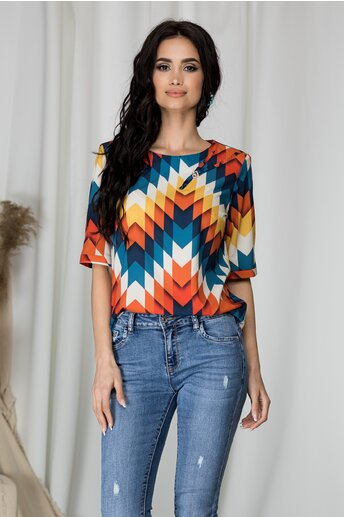 Bluza Samia cu imprimeuri geometrice colorate