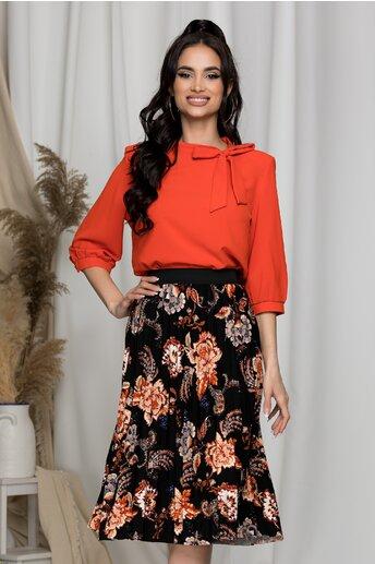 Bluza Samira orange cu funda la gat