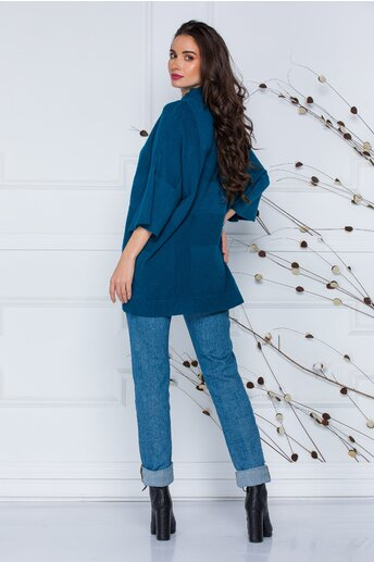 Bluza Sara albastru petrol lejera din tricot cu maneci scurte