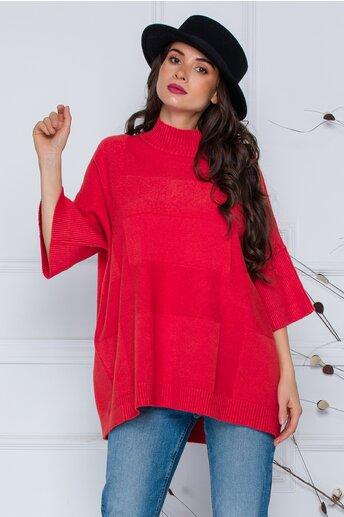 Bluza Sara corai lejera din tricot cu maneci scurte