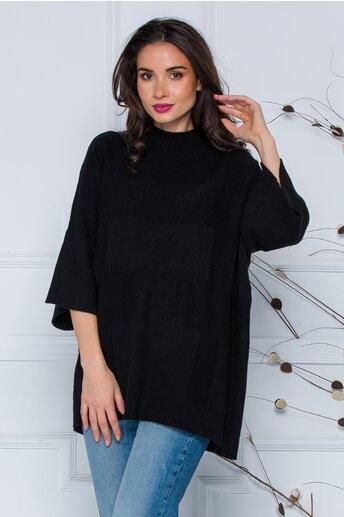 Bluza Sara neagra lejera din tricot cu maneci scurte