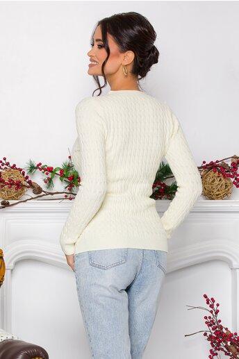 Bluza Sarah ivory din tricot cu design impletit