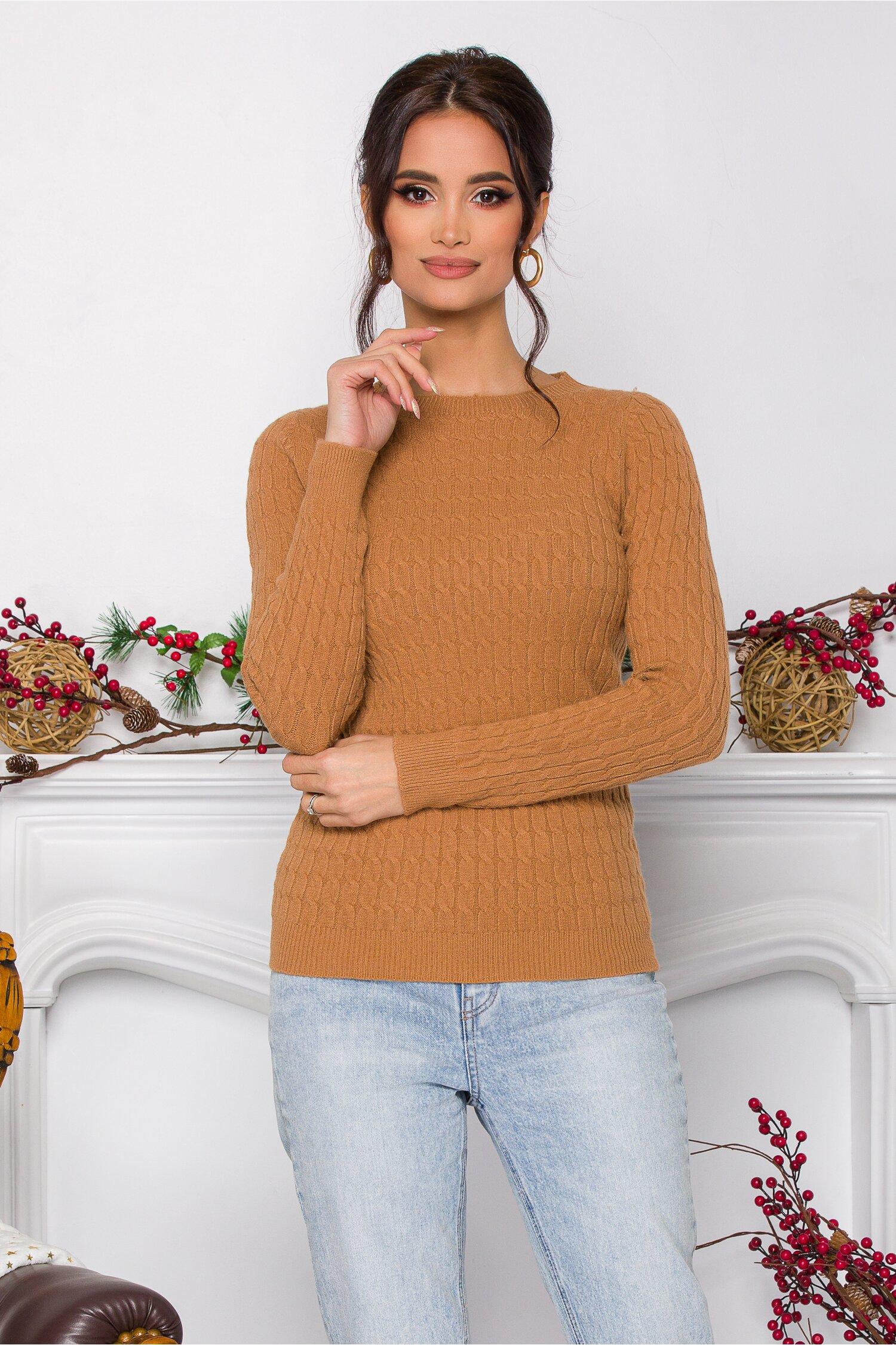 Bluza Sarah maro din tricot cu design impletit