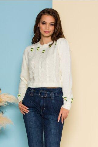 Bluza scurta alba din tricot cu floricele delicate