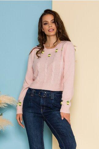 Bluza scurta roz din tricot cu floricele delicate