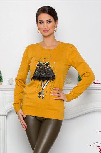 Bluza Sea galben mustar cu imprimeu fashion