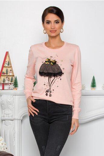 Bluza Sea roz pal cu imprimeu fashion