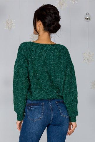 Bluza Shine verde smarald cu insertii din fir lurex stralucitor