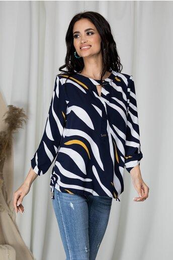 Bluza Sibbil bleumarin cu dungi albe si galbene