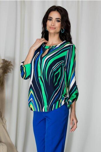 Bluza Sibbil bleumarin cu dungi verzi si albastre