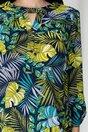 Bluza Sibbil bleumarin cu imprimeu exotic verde