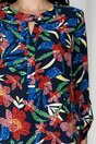 Bluza Sibbil bleumarin cu imprimeu floral rosu mozaic