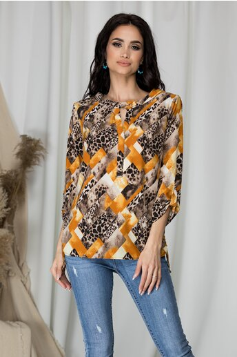 Bluza Sibbil cu animal print maro si imprimeu galben
