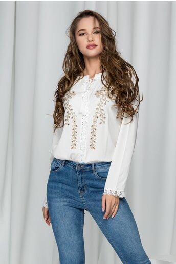 Bluza Silvia alba cu perforatii si broderie florala
