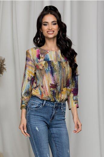 Bluza Sima cu imprimeu colorat si nasturi decorativi la decolteu